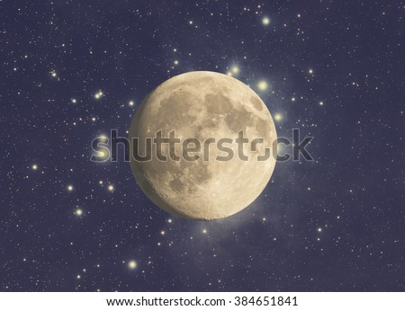 Moon and stars on a starry background. Mosaic taken through my telescope. No elements of NASA or other third party - stock photo