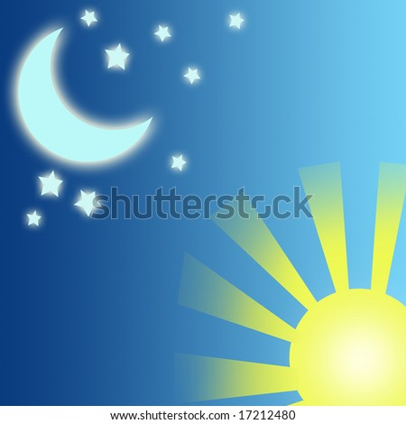 Moon and sun in the sky. - stock photo