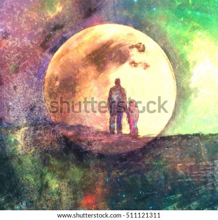 moon and two silhouette of man and child, fairy abstract painting, mixed media- elements of this image are furnished by NASA
