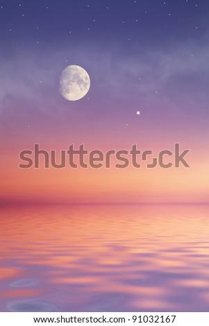 Moon at sea - stock photo