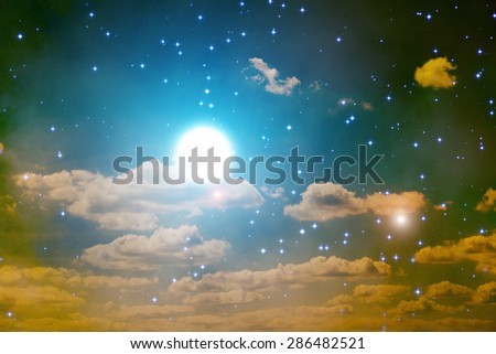 Moon behind clouds and among thousands of stars in deep space. Digital illustration. - stock photo