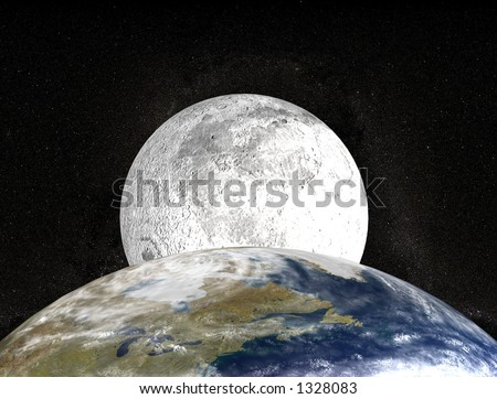 moon behind planet earth
