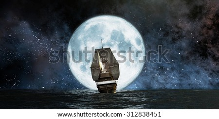 moon, boat and reflection in the water - stock photo