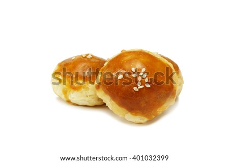 Moon Cake, Chinese Pastry, Dessert Chinese with isolated on white background - stock photo