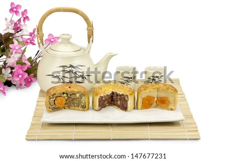 Moon cakes ,traditional chinese bakery. - stock photo