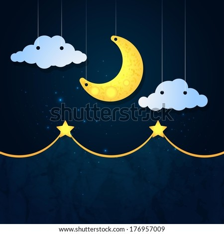 Moon, clouds and stars. Sweet dreams wallpaper. - stock photo