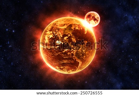 Moon Colliding with Earth - Elements of this Image Furnished By NASA - stock photo