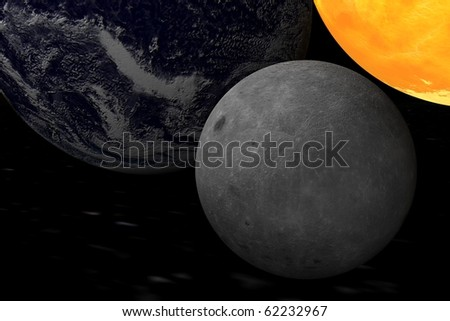 Moon, Earth, Sun - stock photo