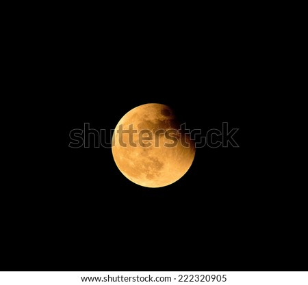 Moon Eclipse Closeup Showing the Details of Lunar Surface  - stock photo