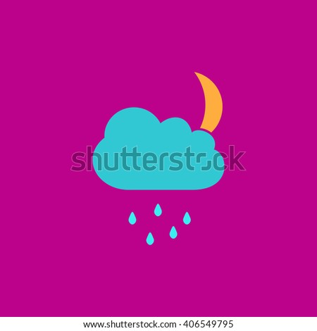 Moon Flat icon on color background. Simple colorful pictogram - stock photo