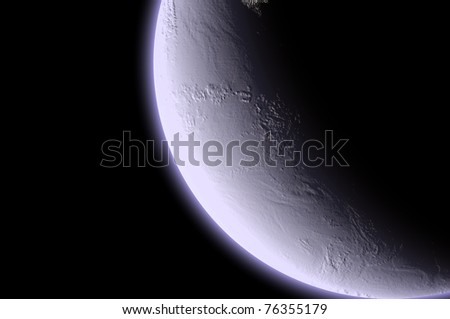 Moon half isolated in black