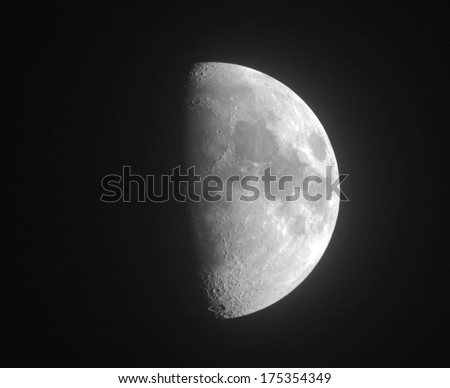 Moon. Half moon. Black and white photo - stock photo