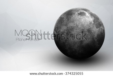 Moon - High resolution 3D images presents planets of the solar system. This image elements furnished by NASA. - stock photo