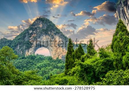 Moon Hill, Yangshuo, China. - stock photo
