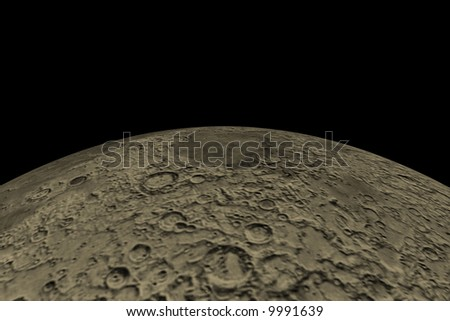 Moon horizon. Render - stock photo