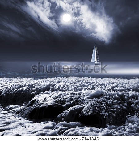 moon in clouds sky above the sea with yacht - stock photo