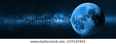 Moon in front of the Milky Way galaxy (blue 3d illustration, background banner, elements of this image are furnished by NASA)