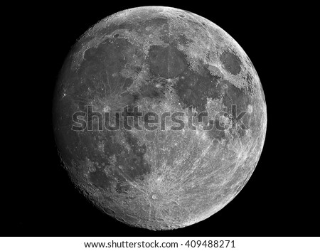 Moon in growing phase. Taken by telescope.