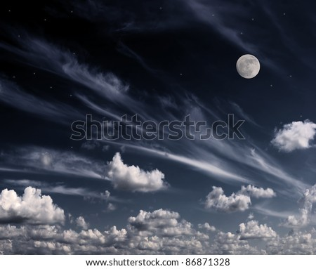 Moon in the night sky. Clouds and stars above them. Processed on a computer. - stock photo