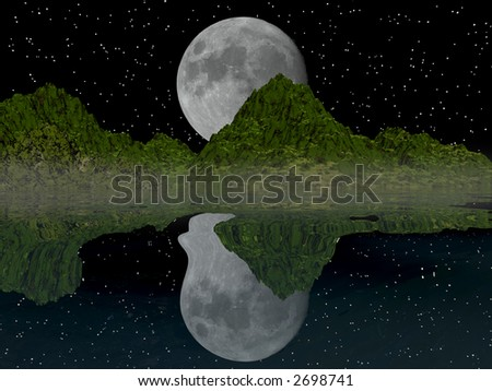 Moon is setting behind the mountains and lake