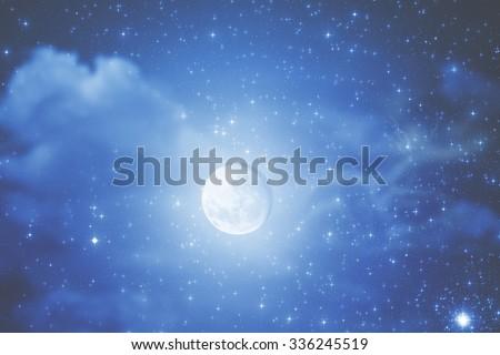 Moon, Jupiter and Venus conjunction - stock photo