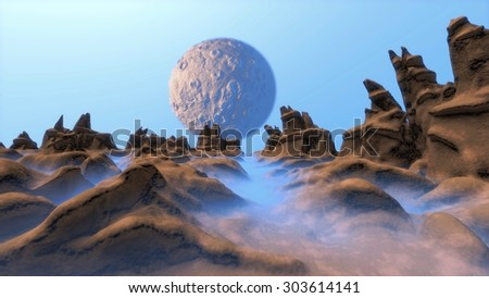 Moon landscape. Illustration of a cartoon funny sci-fi alien planet  - stock photo