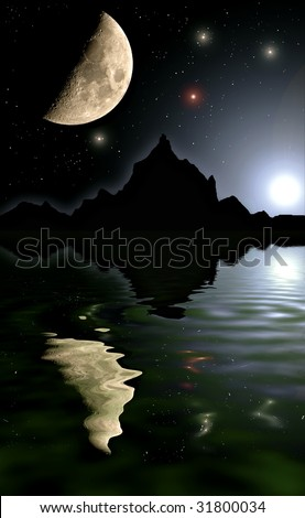 Moon landscape with stars, mountains and water