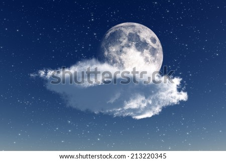 moon lies on cloud on stars background. Elements of this image furnished by NASA - stock photo