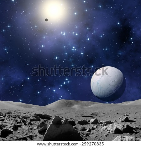 Moon-like surface planet in a distant galaxy. Elements of this image furnished by NASA. - stock photo