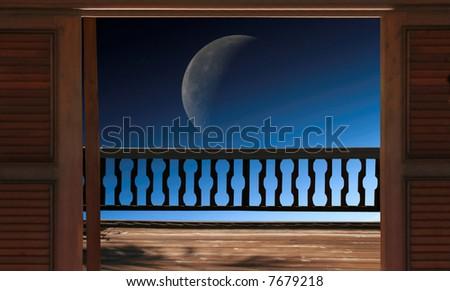 Moon Lit Night - stock photo