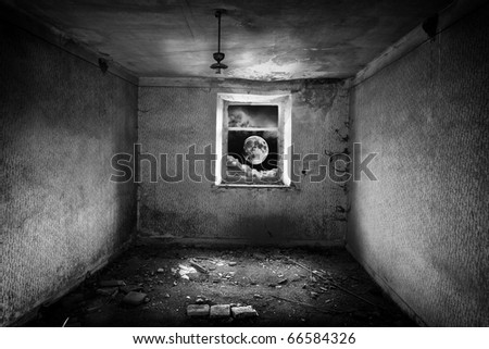 Moon looks into window  the shattered  room - stock photo