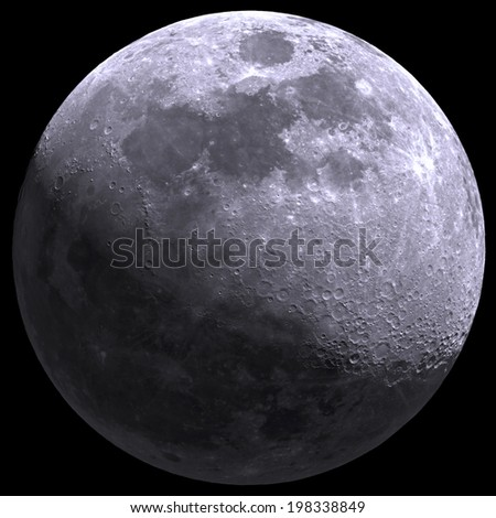 Moon on a black 0 0 0 background. - stock photo