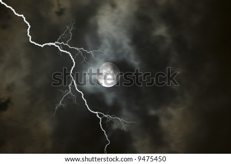 Moon on a stormy night in Florida - stock photo