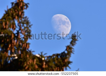 moon on sky in day time