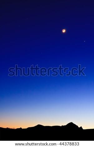 Moon on the Dark Blue Sky - stock photo