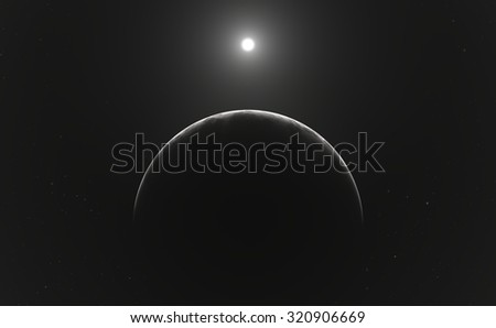 Moon or planet and stars - stock photo