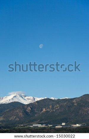 Moon over Air Force Academy - stock photo