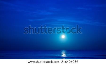 Moon over caribbean sea in Playa Del Carmen, Mexico - stock photo