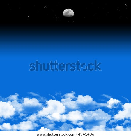 moon over clouds, night over day