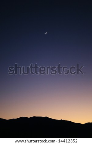 Moon over Death Valley - stock photo