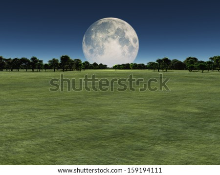 Moon over green landscape - stock photo