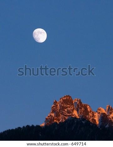 Moon over Mountains - stock photo