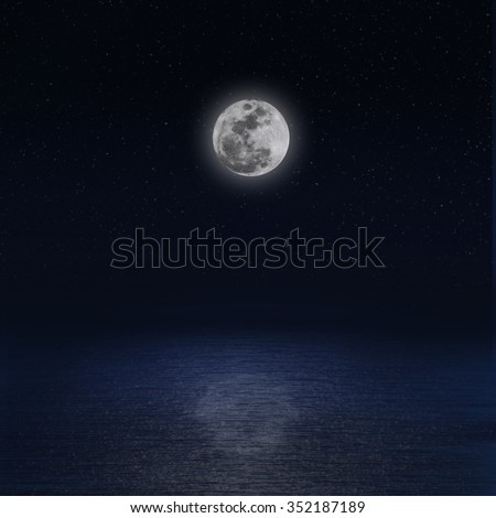 Moon over sea at night, Elements of this image furnished by NASA