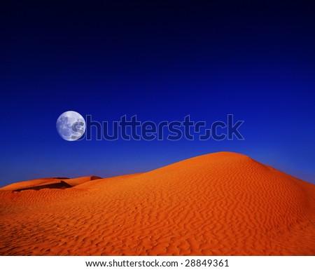 moon over the african desert - stock photo
