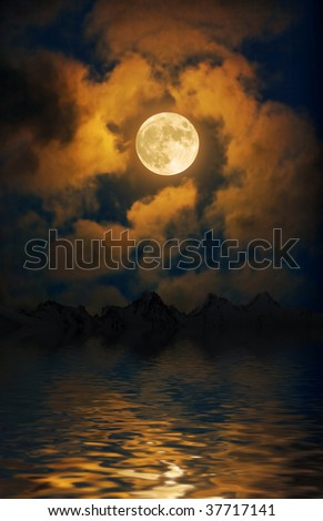 Moon over the night mountains - stock photo