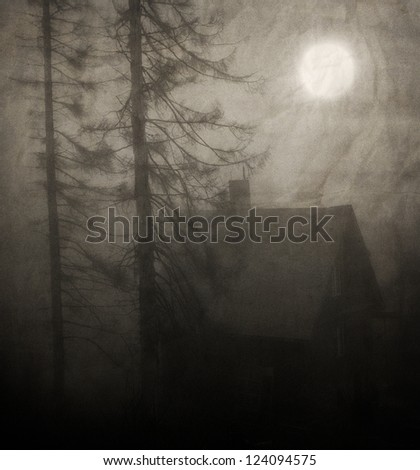 moon over the spooky old house in the forest - textured vintage background - stock photo
