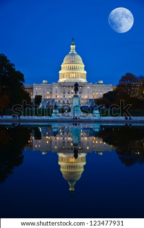 Moon over United States Capitol building in Washington DC, USA - stock photo