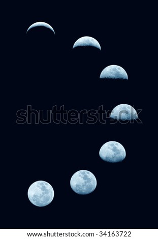 Moon phases change - stock photo
