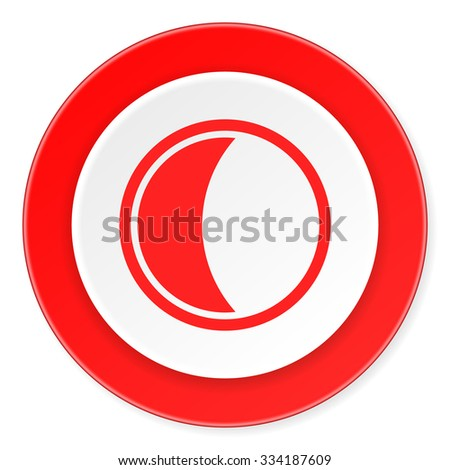 moon red circle 3d modern design flat icon on white background
