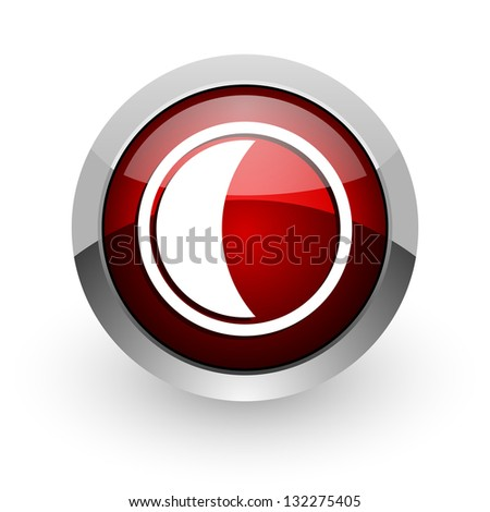 moon red circle web glossy icon
